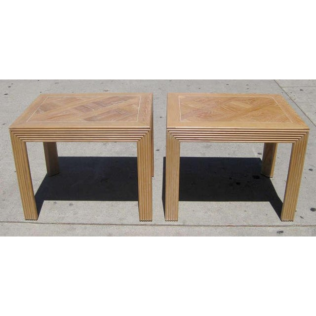Parquet Top Sides Tables by Lane - Pair - Image 2 of 6
