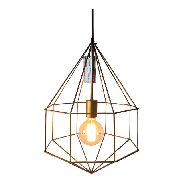 Image of Gold Geometric Cage Pendant Light