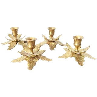 Vintage Brass Holly Candle Holders - Set of 4