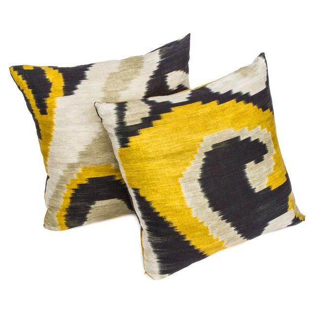 Yellow & Blue Ikat Pillow - Image 1 of 2