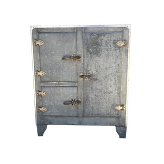 Antique Metal Icebox With Reclaimed Wood Shelves