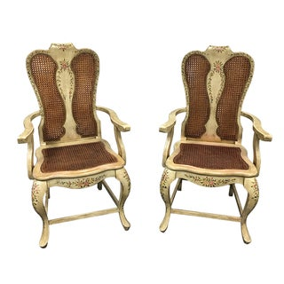 French Country Caned Chairs - A Pair