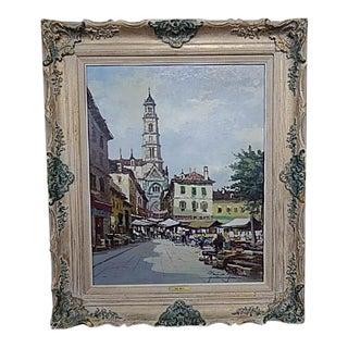Original Parisian Market Scene Painting by Moreno