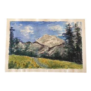 Mount Rainer Wildflower Field Watercolor Painting