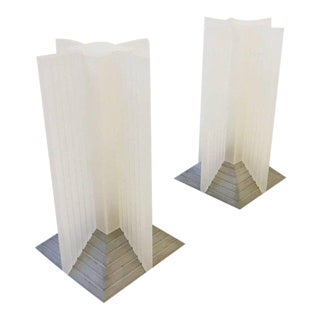 Acrylic and Cement Memphis Table Lamps - A Pair