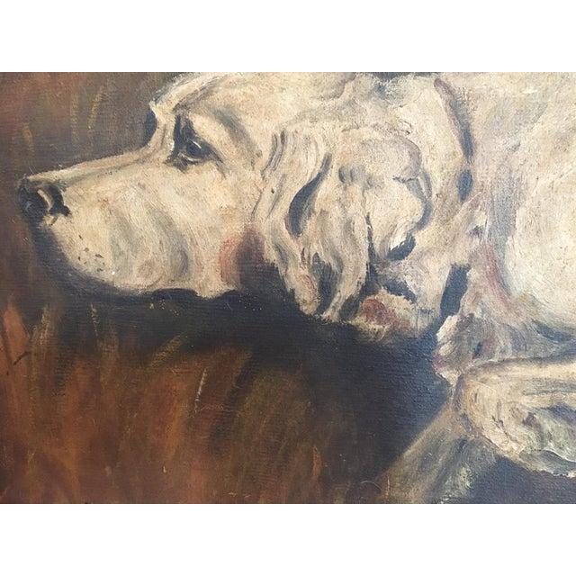 Image of Mid-Century Hunting Dog Painting