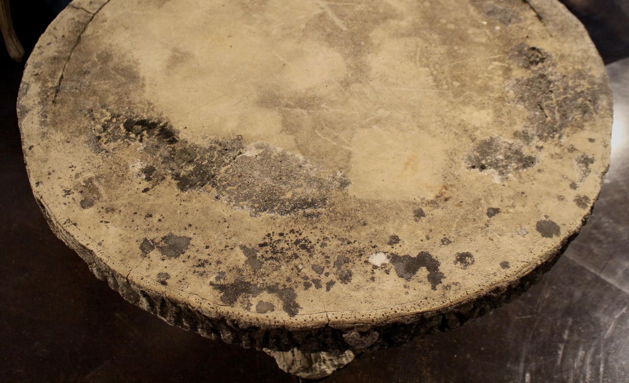 Faux Bois Concrete Round Pedestal Table   Image 3 Of 6