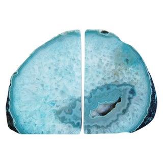 Aqua Blue Crystal Rock Geode Bookends