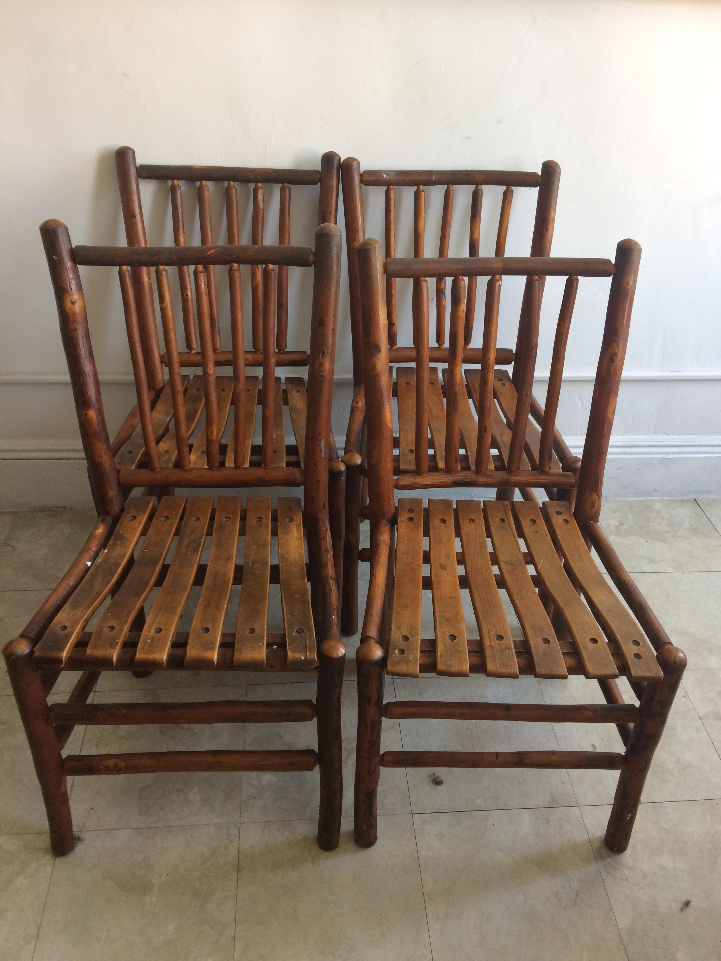 vintage old hickory rustic dining chairs set of 4 image 2 of 9 - Old Hickory Furniture