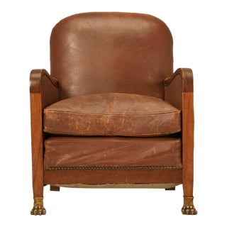Circa 1940's French Leather Club Chair with Unusual Paw Feet