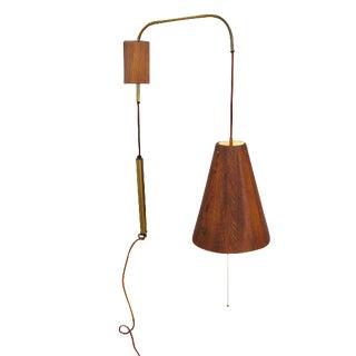 1960's Adjustable Danish Wood & Brass Wall Lamp