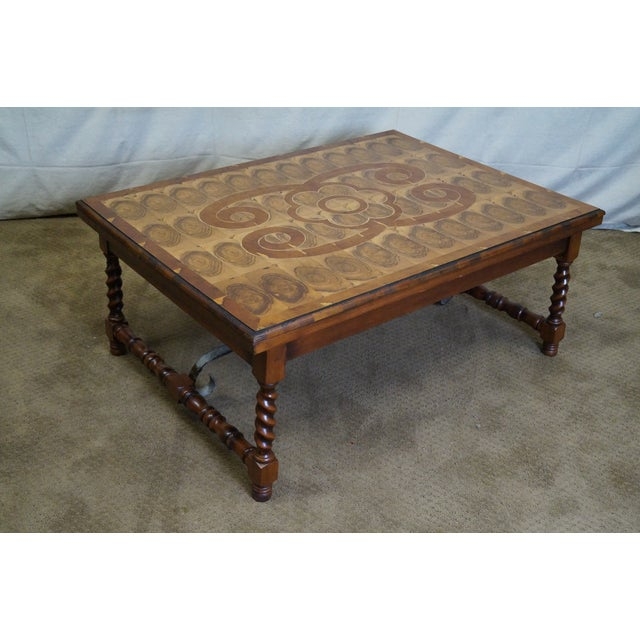 Quality English Oyster Wood Large Coffee Table - Image 3 of 9