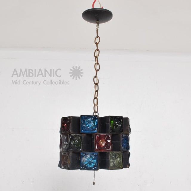 Feders Pendant Ceiling Fixture Handblown Glass and Steel Brutalist Chandelier - Image 2 of 8