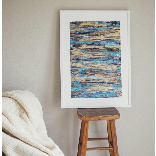 "Image of Unframed Goldleaf & Paper Abstract Art - 13"" X 19"""