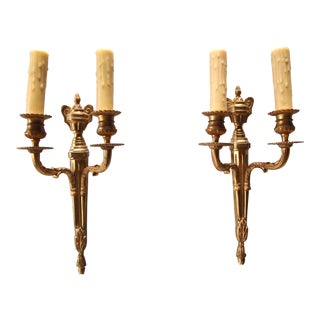 1950's French Louis XVI Style Gilt Bronze Wall Sconces - A Pair