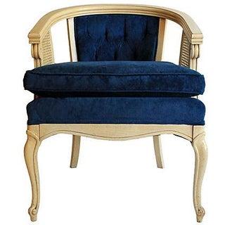 Blue Velvet Tufted Caned Side Chair