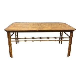 Walnut Burl Chinoiserie Coffee Table