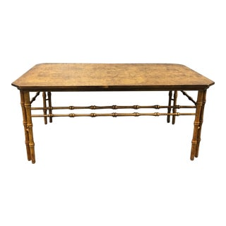 Walnut Burl Chinoiserie Coffee Table