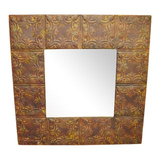 Vintage Pressed Metal Mirror