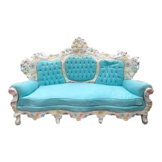Unqiue Very Big Italian Baroque Venetian Style Baby Blue Velvet Throne Sofa / Settee