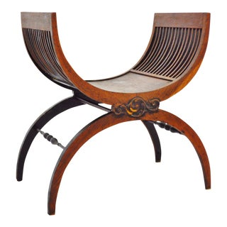 Early Wood Savonarola Style Curule Chair