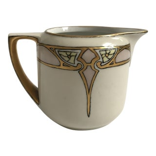 Art Deco Creamer with Gold & Blush Detailing