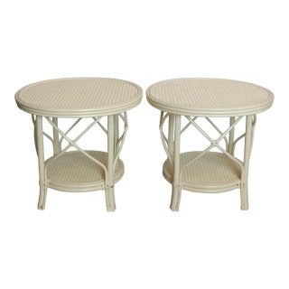 White Rattan Side Tables - A Pair