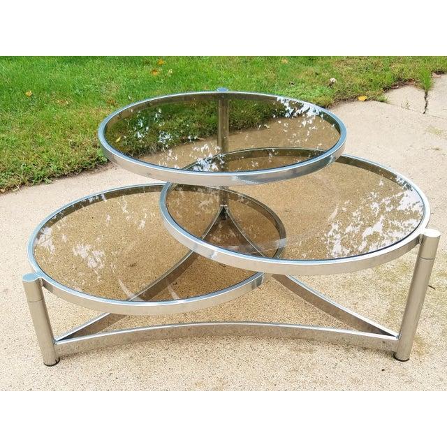 Milo Baughman Tri Level Chrome and Glass Swivel Coffee Table - Image 11 of 11
