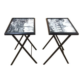 Pair, Mid Century Black Folding X Base tables