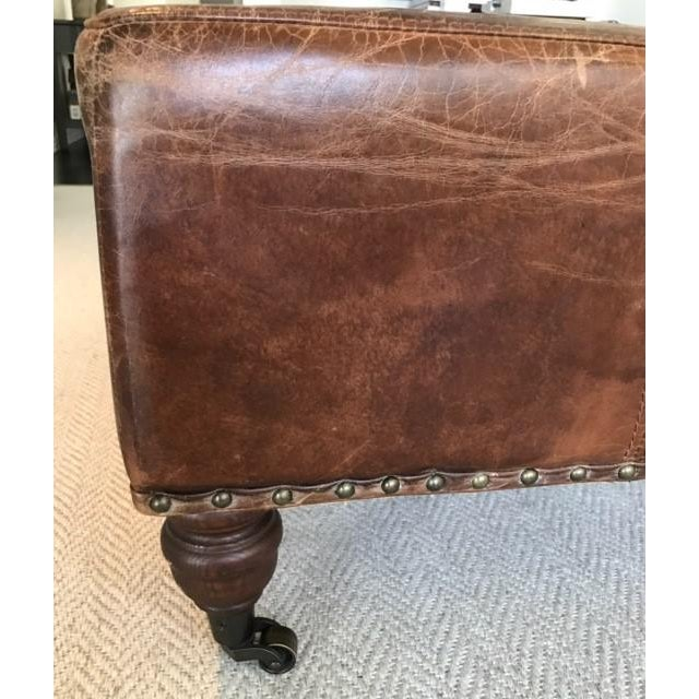 Antique Brown Leather Ottoman - Image 4 of 5