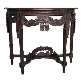 Ornately Carved Demilune Table