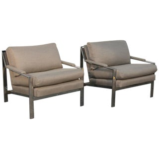 Cy Mann Chrome Flat Bar Lounge Chairs - A Pair