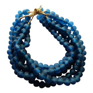 Jumbo Blue Glass Trade Bead Strands,S/5 160 Beads