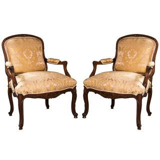 French Louis XV Style Walnut Bergeres - Pair