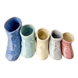 Vintage Multicolored Baby Boot Planters - Set of 5
