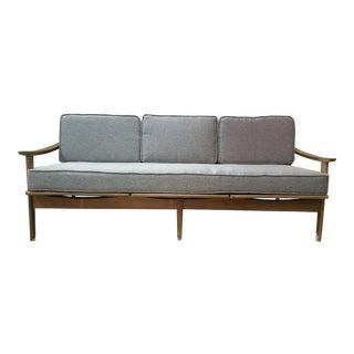 Mid-Century Modern Walnut Frame Gray Sofa