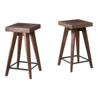 Pair of Christian Durupt stools from Meribel, France, 1950s