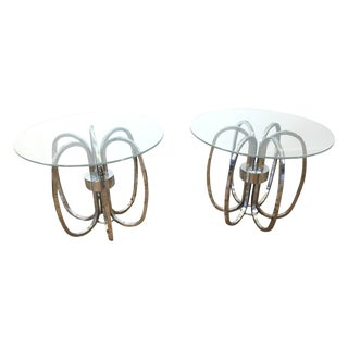 Mid-Century Chrome Ring Side Tables - A Pair
