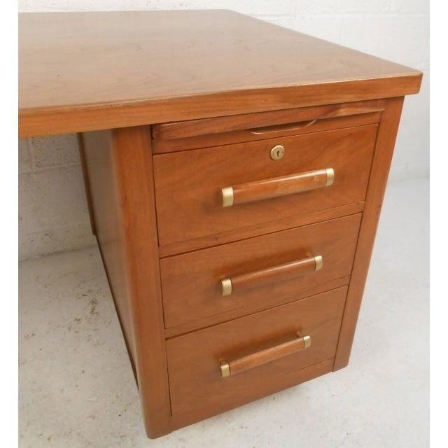John Widdicomb Mid-Century Finished Back Executive Desk - Image 6 of 10