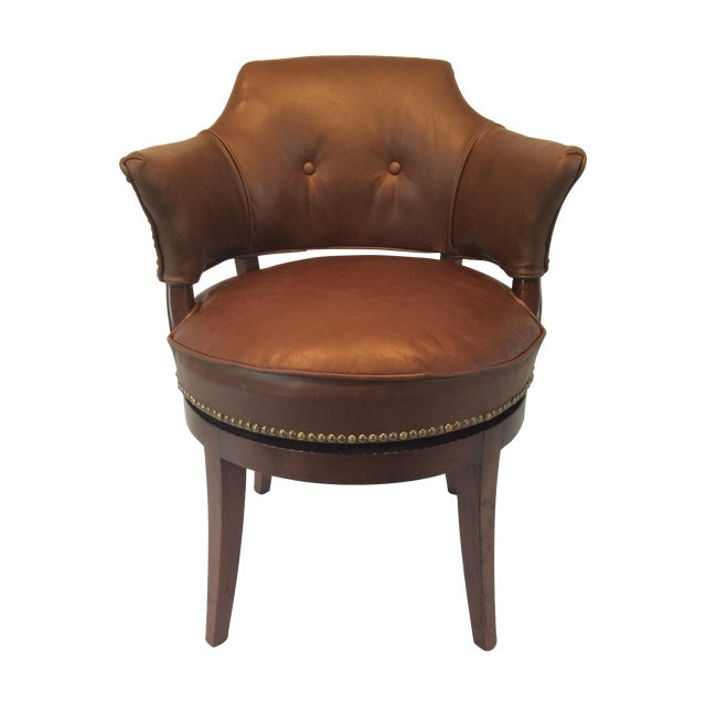Image of Leather Swivel Desk Chair