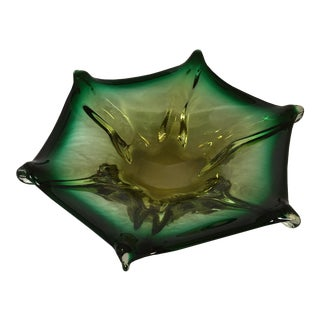 Murano Six Pointed Green Glass Bowl