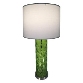 Green Glass Lamp With Bamboo Pattern
