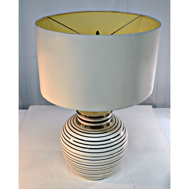 Mid Century Bowl Table Lamp & Drum Shade - Image 9 of 10
