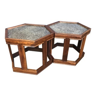 John Keal for Brown Saltman Hexagonal Tables - A Pair