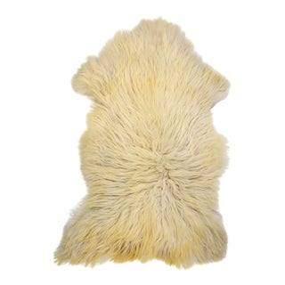 "Long Soft Off-White Wool Sheepskin Rug, Handmade Supple Pelt - 2'8"" X 4'4"""