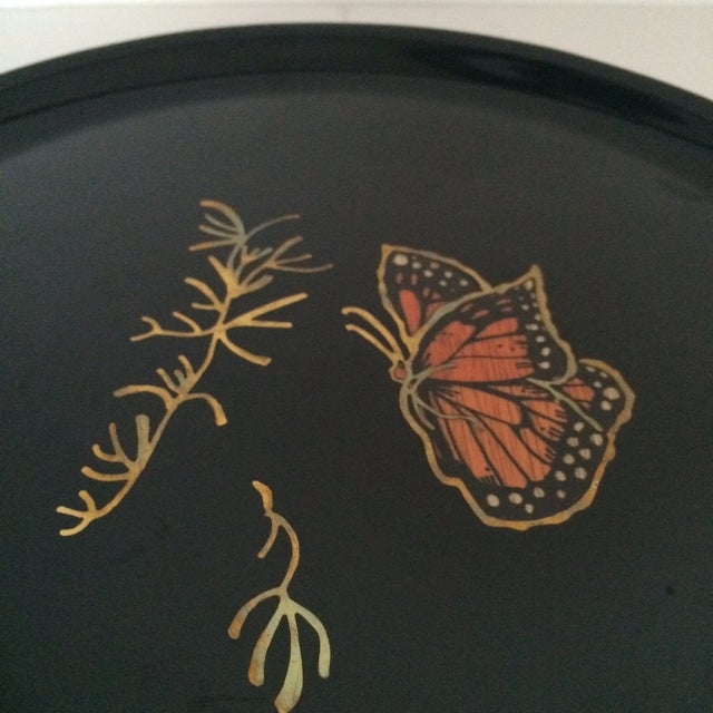 Couroc Vintage Black Butterfly Tray - Image 5 of 7