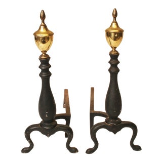 Vintage Cast Iron Andirons - A Pair