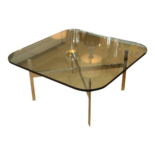 Mid-Century Steel X Base Cocktail Table - Image 1 of 9