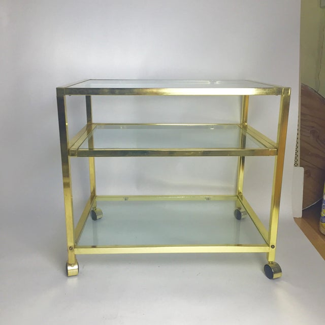 Vintage Brass & Glass End Cart Table - Image 2 of 11