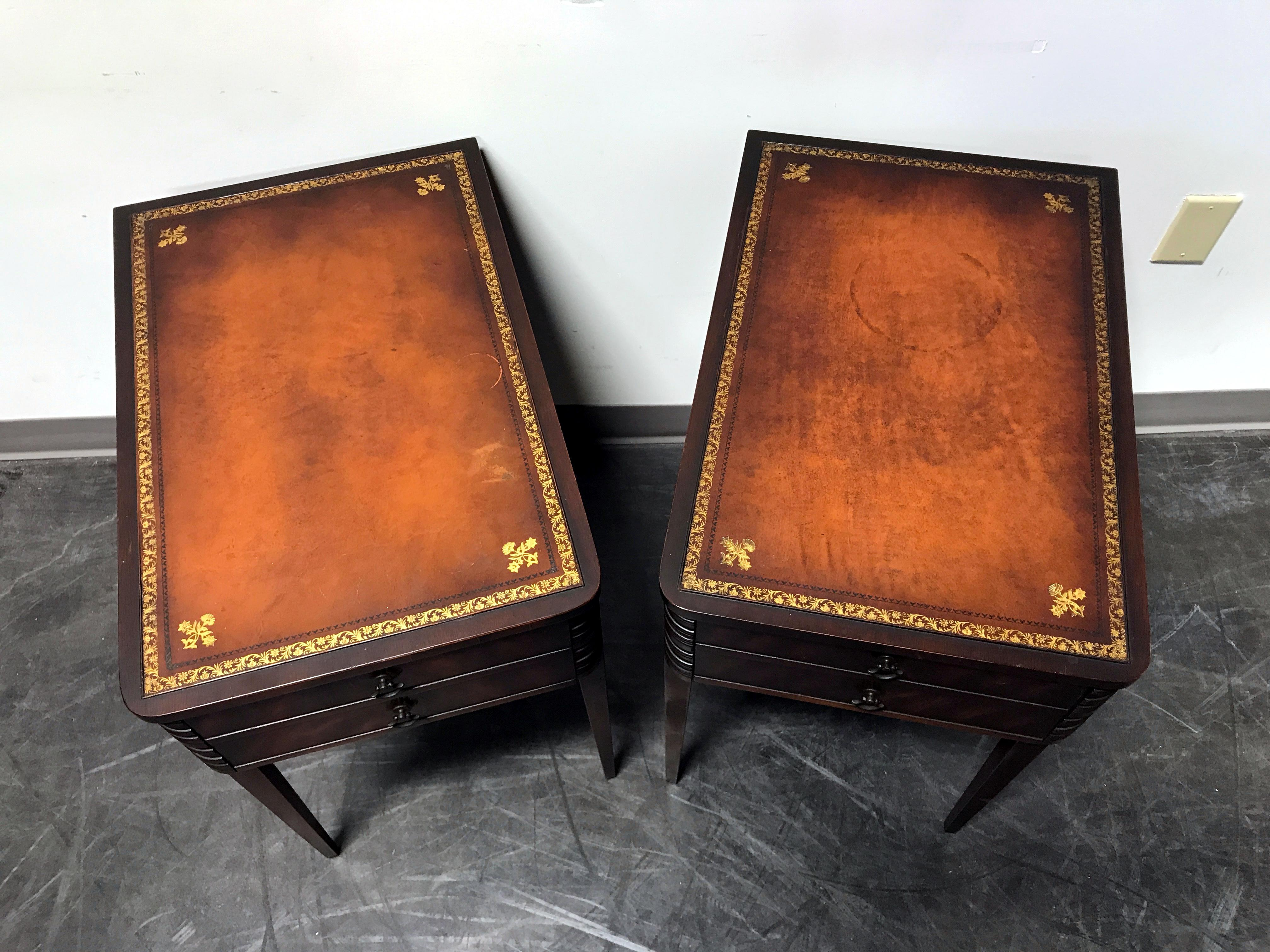 Vintage Leather Top Mahogany End Tables  A Pair   Image 6 Of 11